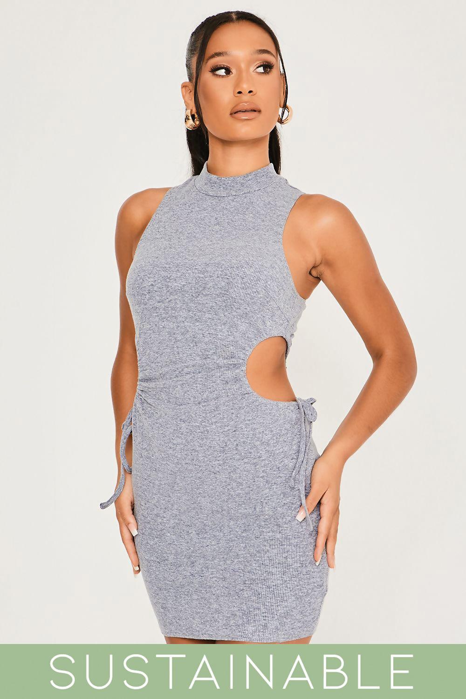 Grey-Blue-Recycled-Rib-High-Neck-Cut-Out-Waist-Drawstring-Mini-Dress-2.jpg