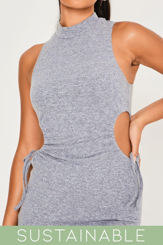 Grey-Blue-Recycled-Rib-High-Neck-Cut-Out-Waist-Drawstring-Mini-Dress-3.jpg