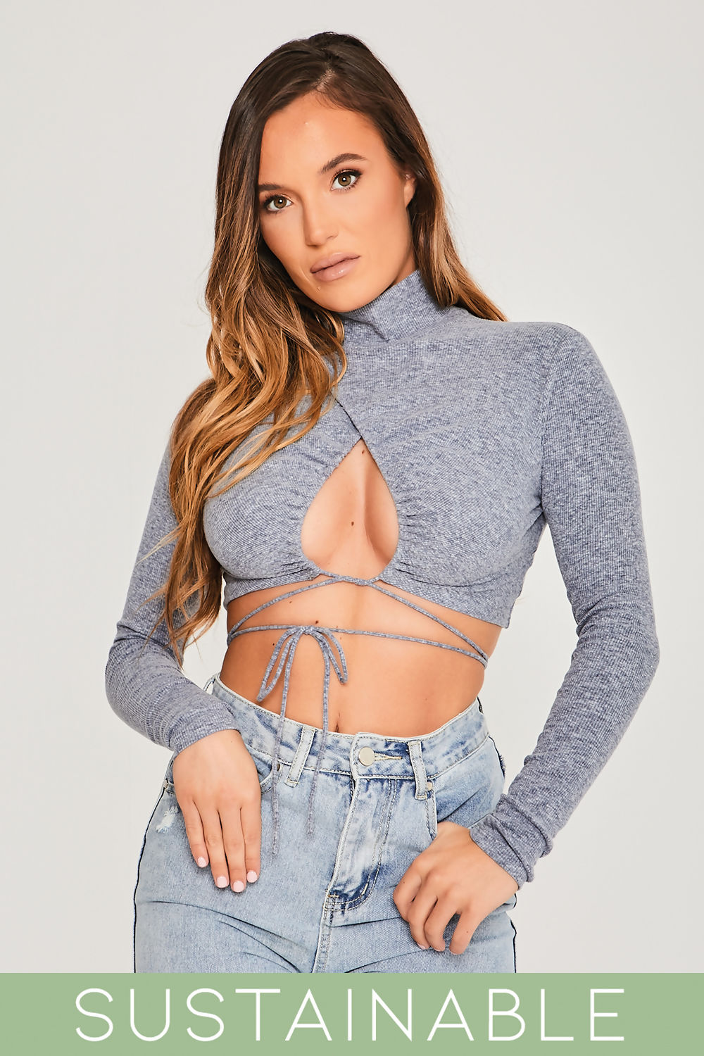 Grey-Blue-Recycled-Rib-Tie-Front-Cut-Out-Detail-High-Neck-Crop-Top-2.jpg