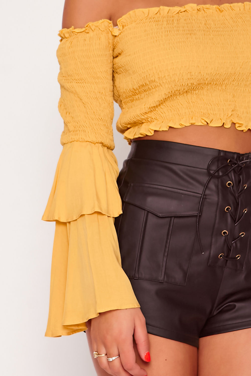ST120-Mustard-Bardot-Shirring-Detail-Flare-Sleeve-Crop-Top-detail.jpg
