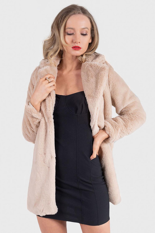 Lily Nude Faux Fur Jacket - nude fur jacket - coats