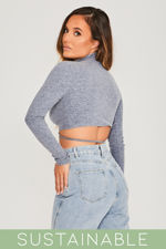 Grey-Blue-Recycled-Rib-Tie-Front-Cut-Out-Detail-High-Neck-Crop-Top-5.jpg