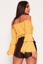 ST120-Mustard-Bardot-Shirring-Detail-Flare-Sleeve-Crop-Top-Back.jpg