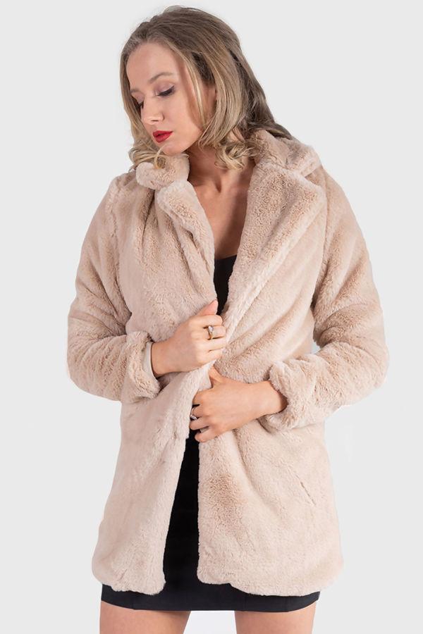 IKRUSH Womens Lauren Faux Fur Coat in Nude Size M/L | eBay